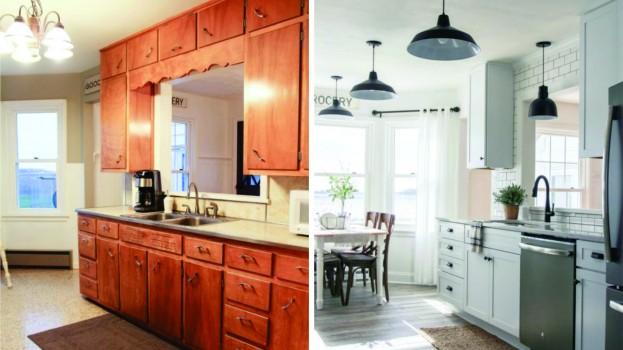 Antes y despues : Cocina amplia, Clara y funcional