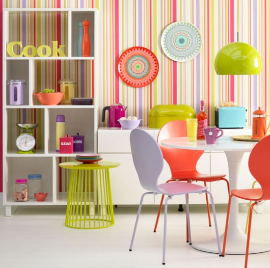 Vibrant Colorful Striped Kitchen Design